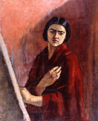 Amrita_Sher-Gil_-_Self Portrait with Easel